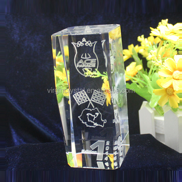 Customized Logo 3D Laser Engraved Crystal Rectangle Block For New Gift