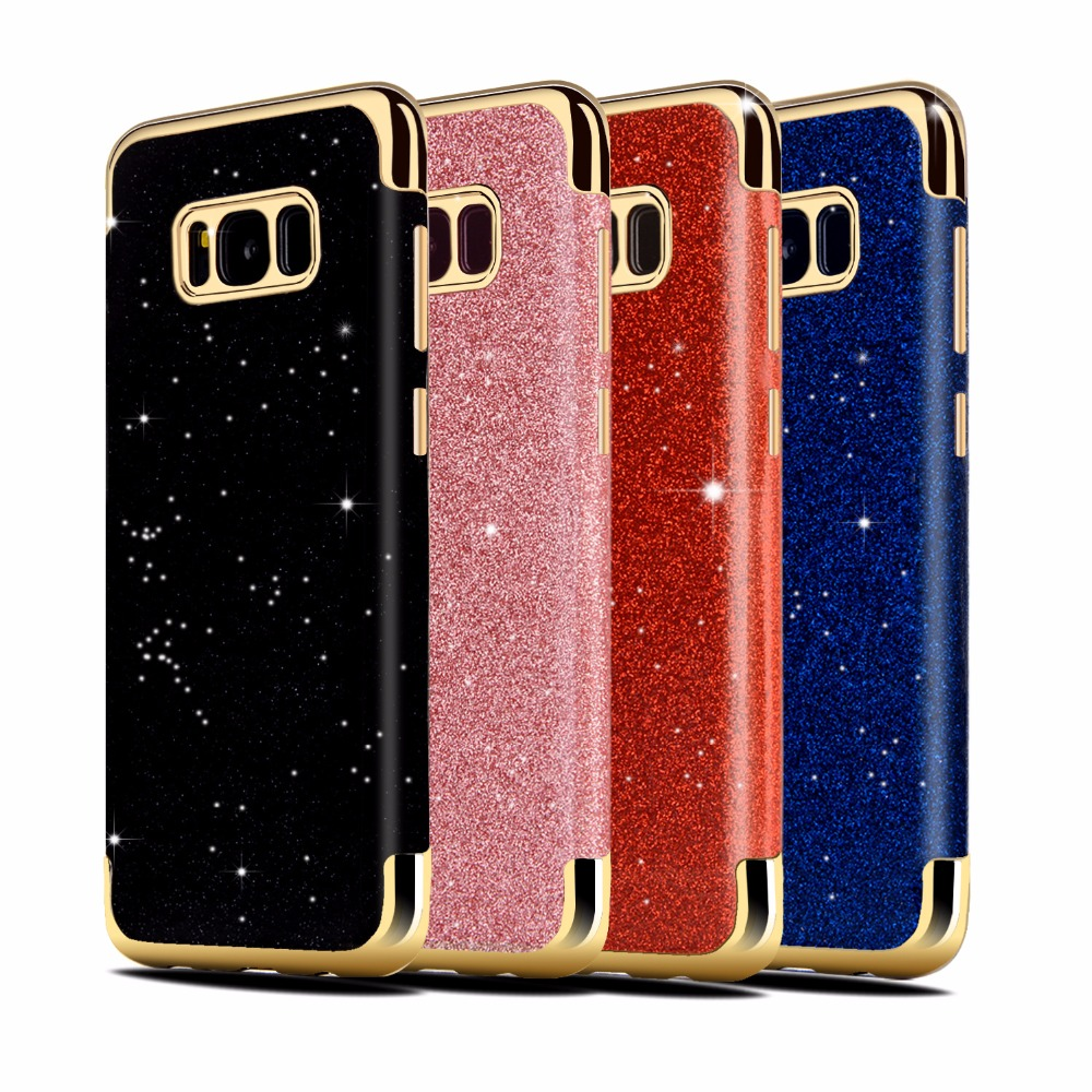 Flash powder tpu cell phone case for Samsung S8 S8 plus, glitter mobile accesorris cover for Samsung S8