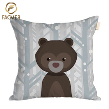 Wholesale Custom Made Animal Design Black Bear Cushion Cover Backrest Throw Pillow Cover For Baby Room