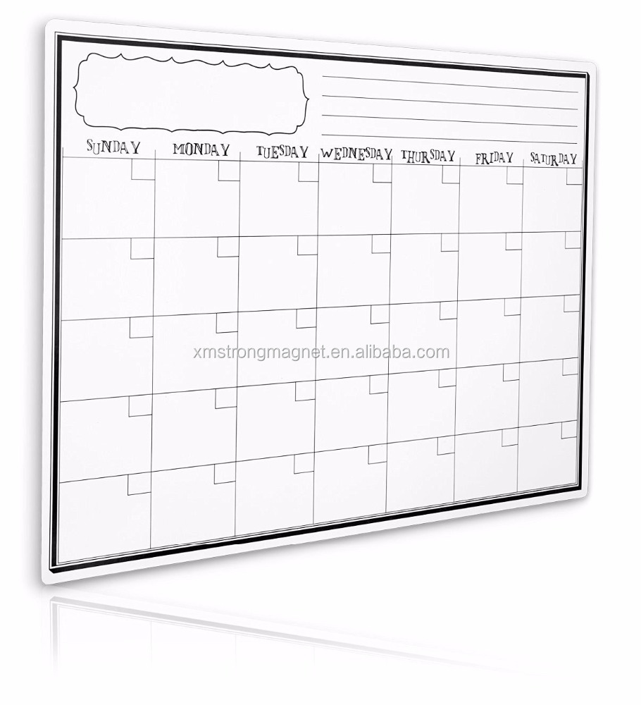 17 X 12 Inches Monthly Magnetic Refrigerator Calendar Dry Erase Whiteboard With Magnet Attachment Pen and Eraser