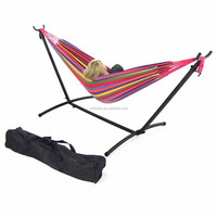 Buy Double arc hammock stand / wooden stand with quilted hammock ...
