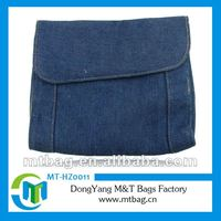 fashion western jean cloth small cosmetic bags with compartments