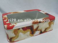 rectange food tin can with PVC window