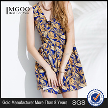 MGOO 2015 High Fashion Simple One Piece Sleeveless Women Dress Holiday Overalls Print Casual Young Girl Dress K071522