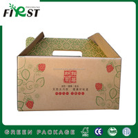 CORRUGATED STRAWBERRY PAPER BOX CUSTOM PRINT FRUIT PACKING CARTON BOX/Custom printed paper strawberry packaging box with handle