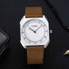 2017 New TOMI Men Square Business Luxury Watch Leather WristWatches Fashion Luxury Sport Brand Watch
