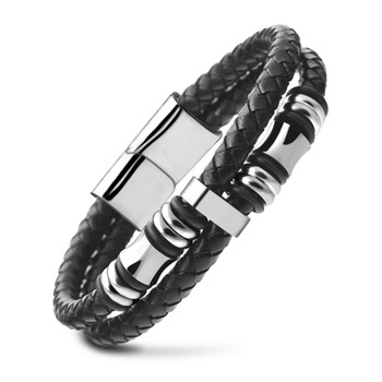Hot Sale Men's Trendy Faux Leather Logo Customized Metal Braided Bracelet