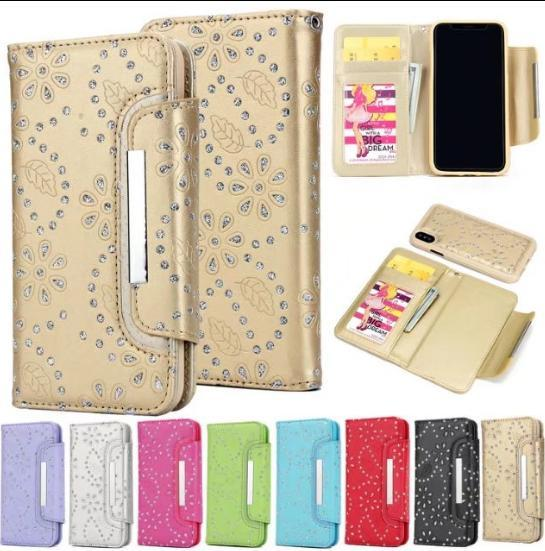 Colorful Glitter bling bling wallet leather phone case for iphone X,Detachable Flip Wallet Case For Samsung Galaxy S8 note 8