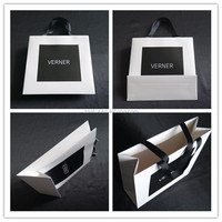 Wholesale black/ white for choice, paperboard shopping bags with black grosgrain ribbon