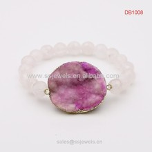 Faceted rose quartz bead bracelet with druzy stone pendant fashion jewelry