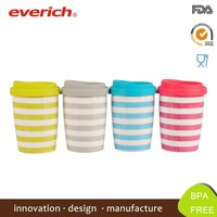 2015 Double Wall Promotional Porcelain Ceramic Cup With Silicone Lid
