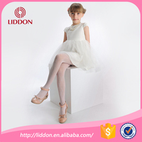 Custom breathable kids girls silk stockings with knitted jacquard