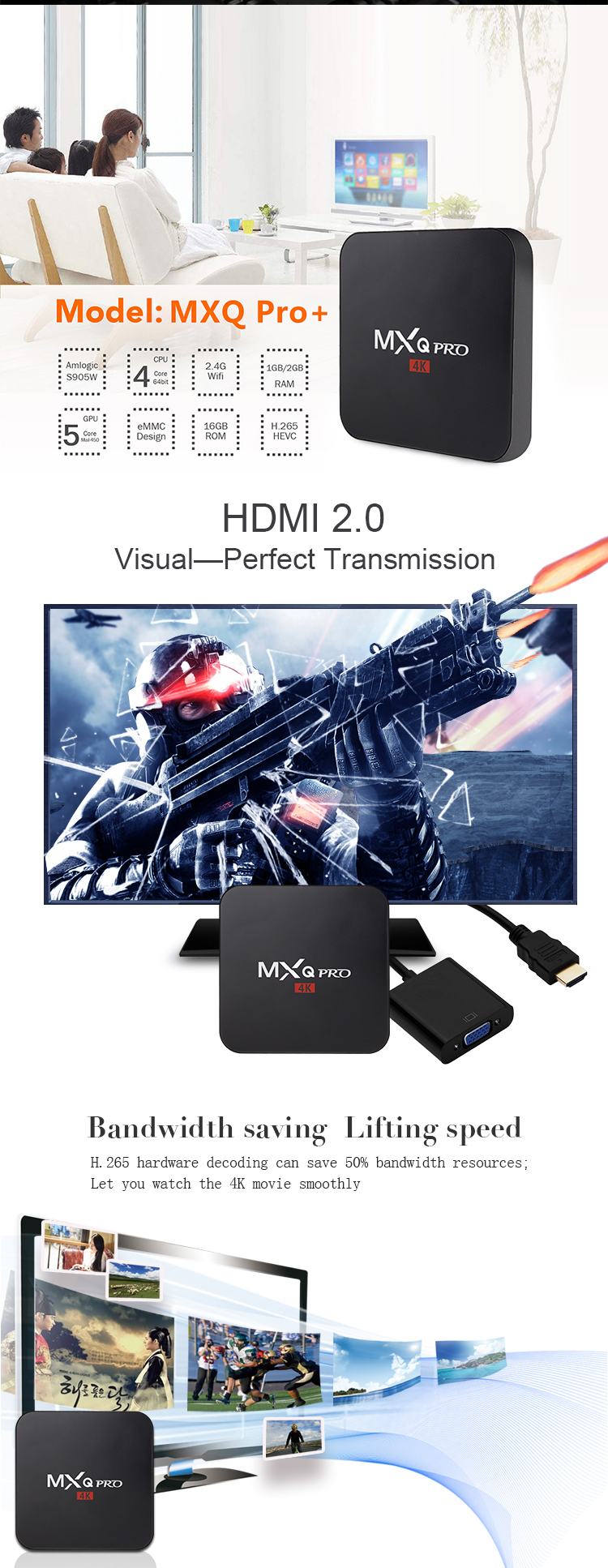 Android 7.1 4 K Ultra HD S905W TV Box