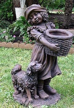Statue - Girl with Bushel Basket and Puppy Statue