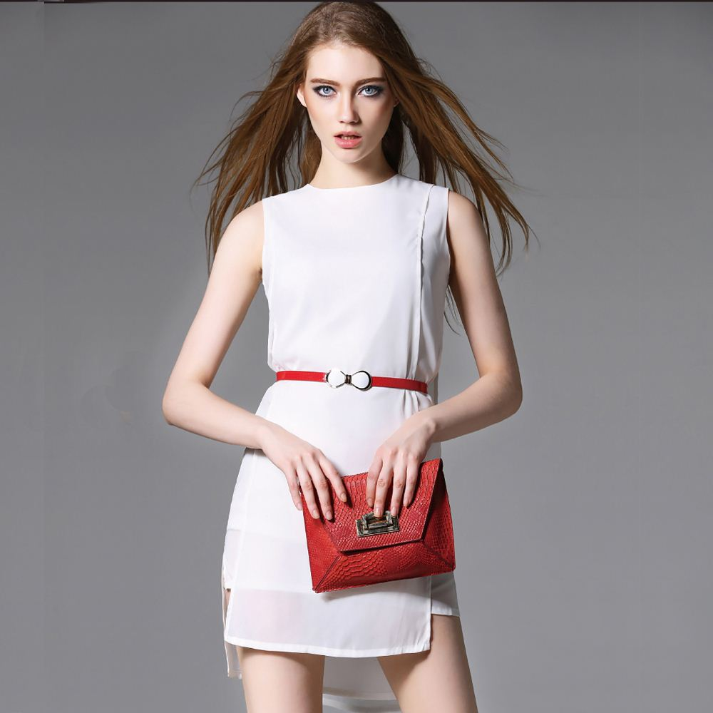 Girls Casual Chiffon Dress Belt Solid O-Neck Femme Robe 2016 Sleeveless Women Summer Dress
