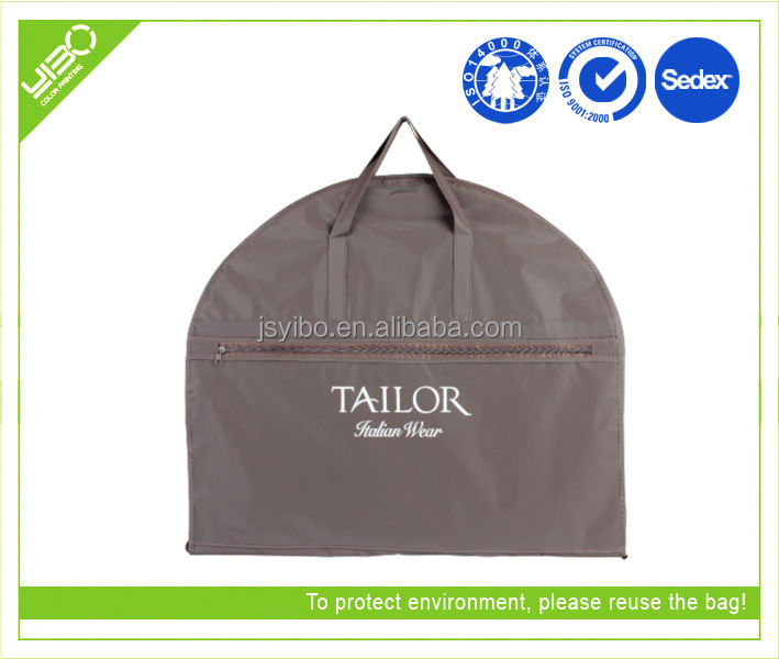 Customized logo reusable foldable non woven mens suit garment bags