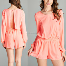 Adult Plain Cotton Women Fashion Pink Cinch-Waist Long Sleeve Romper Jumpsuits Wholesale Custom China Apparel Agent