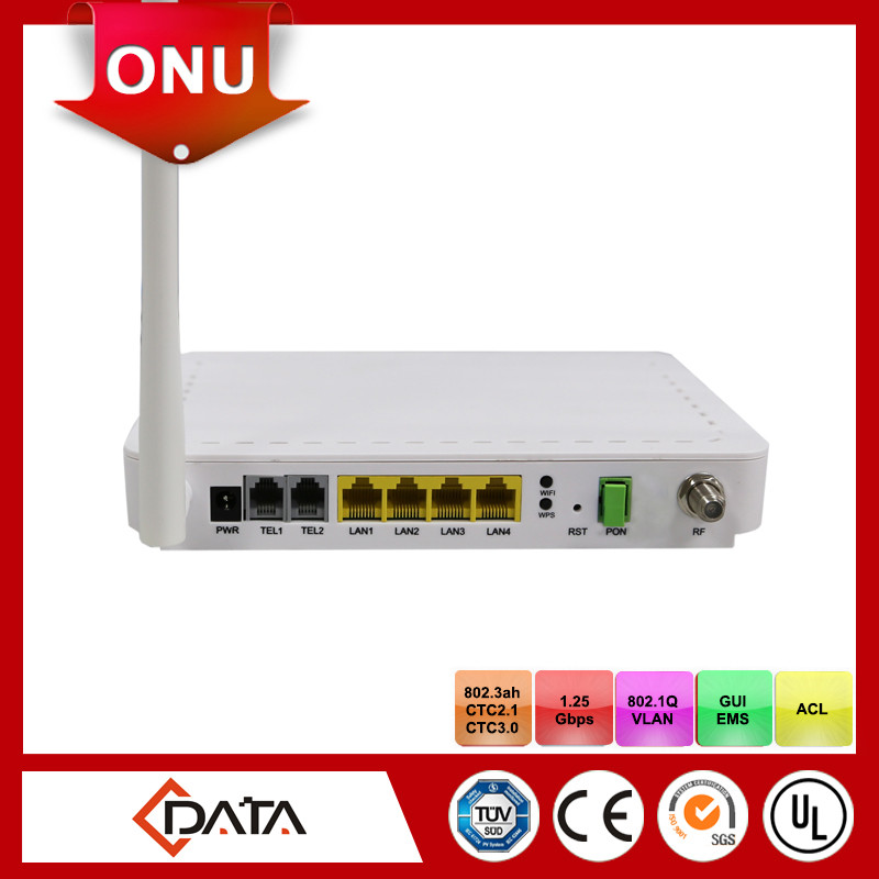 fiber optic equipment 4GE+ 2POTS + CATV+ Wi-Fi Single Fiber wifi ftth epon onu modem
