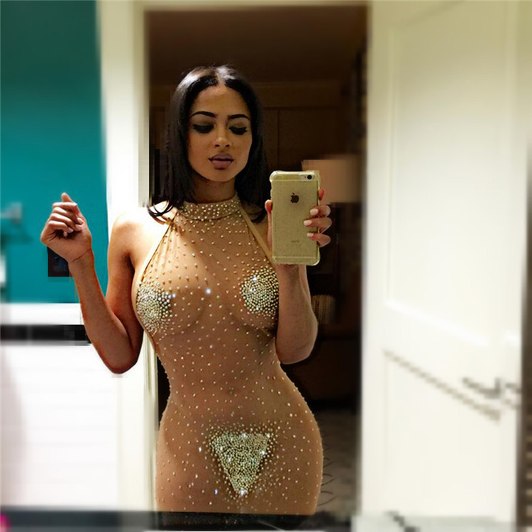 Costume Beading Design Tight Backless Women Dress Sexy Transparent Lady Hot Night Club Wear Girl Dress