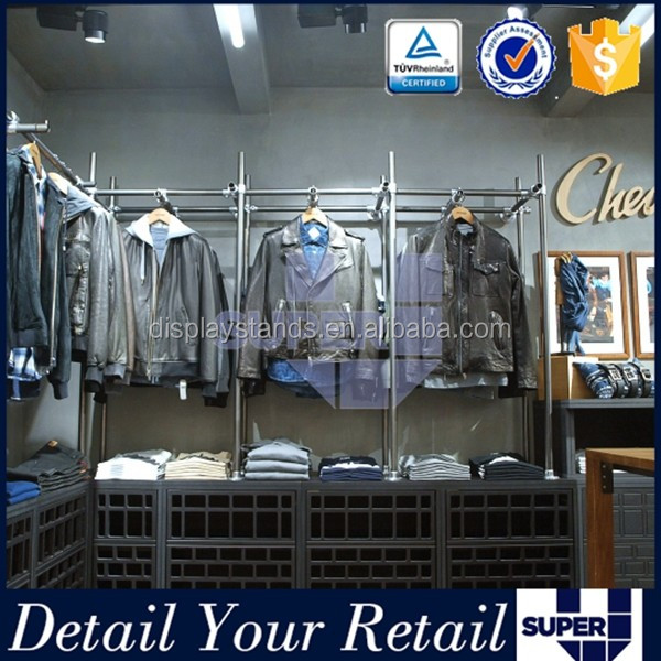 Customized retail clothes shelving systems clothes hanging system