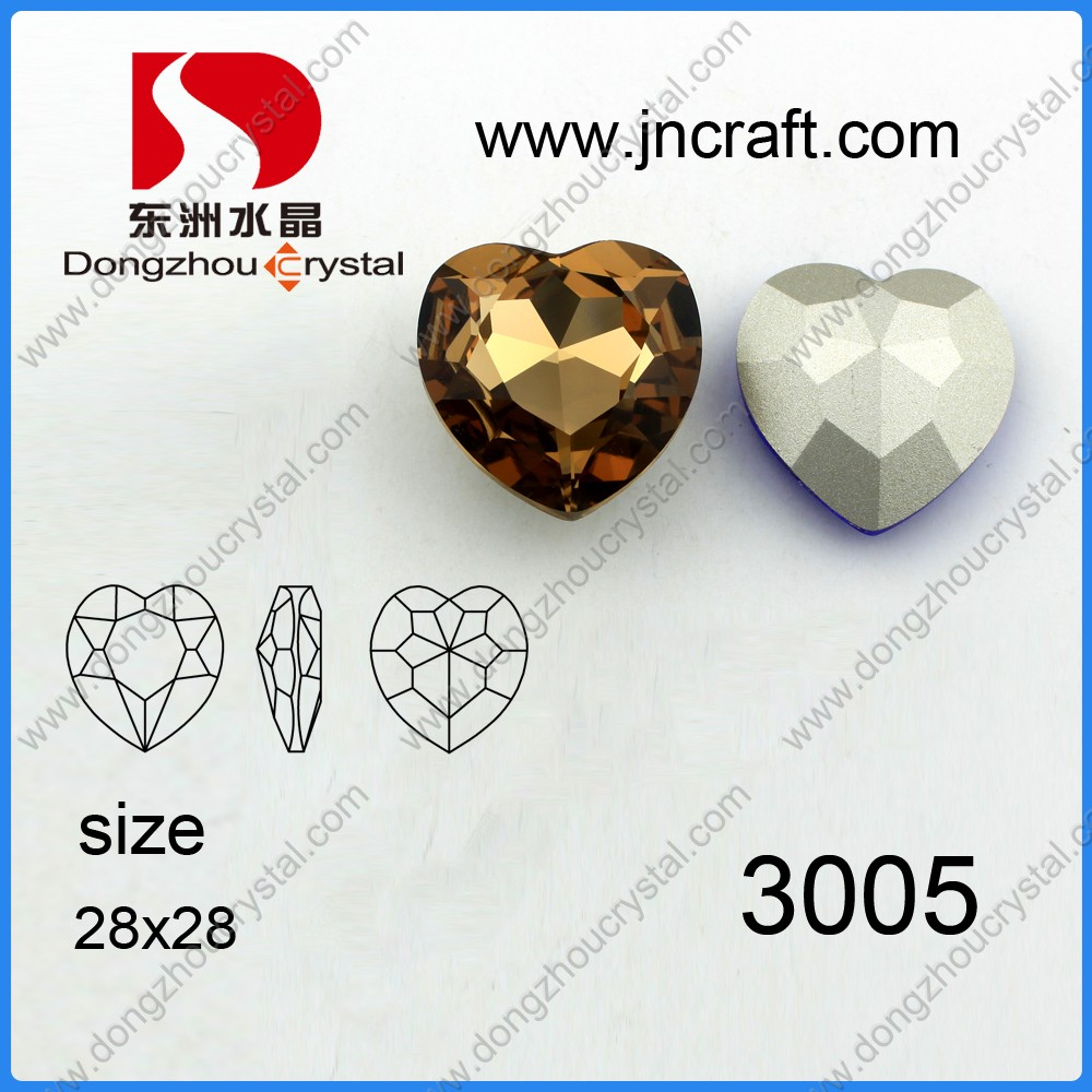 Lead free loose heart decorative fancy crystal glass stones for jewelry