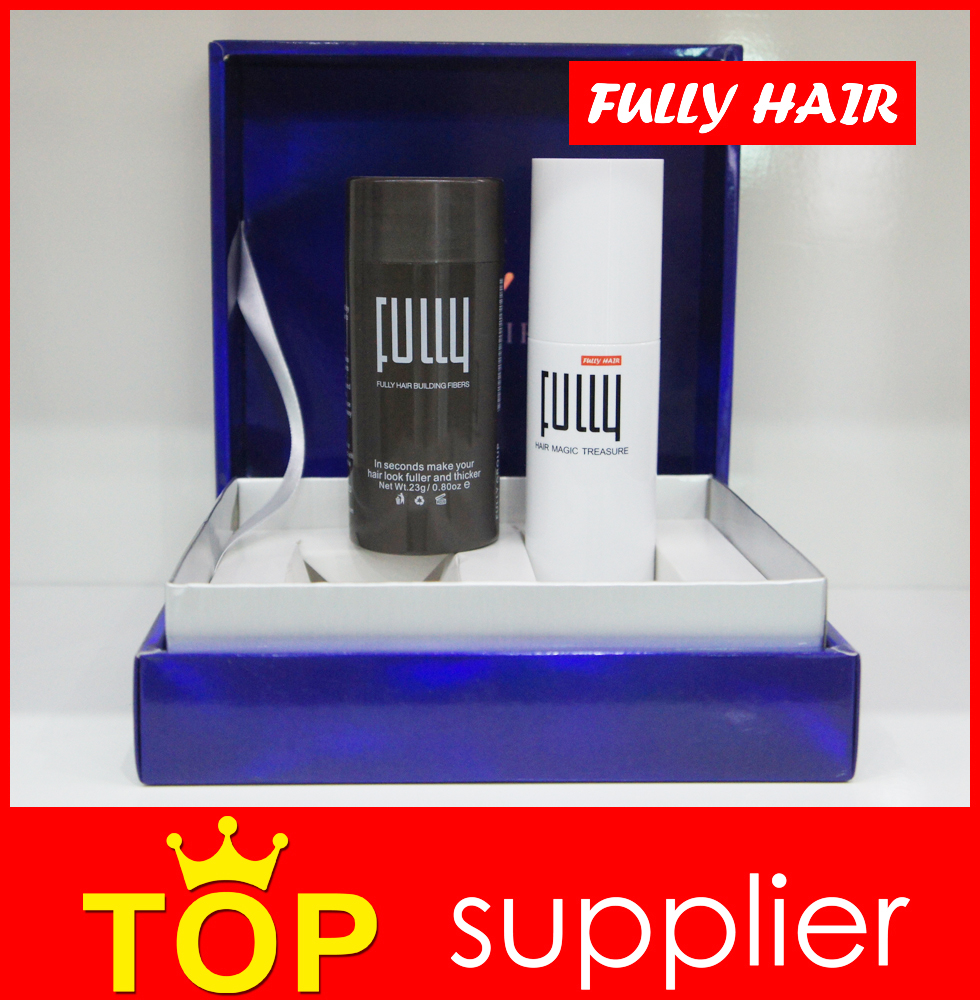 Fully keratin hair building fibers with accessory in luxury kit