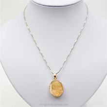 yellow handmade alloy chain bead necklace designs