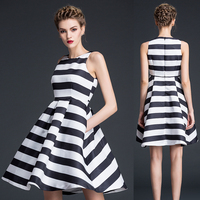 2016 summer women clothes balloon style sexy dresses woman ball gown cotton fashion stripe party dress