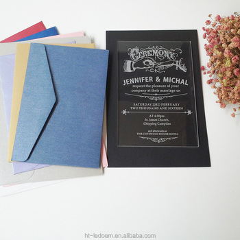 "1/8"" Thick clear Acrylic vintage wedding Invitations"