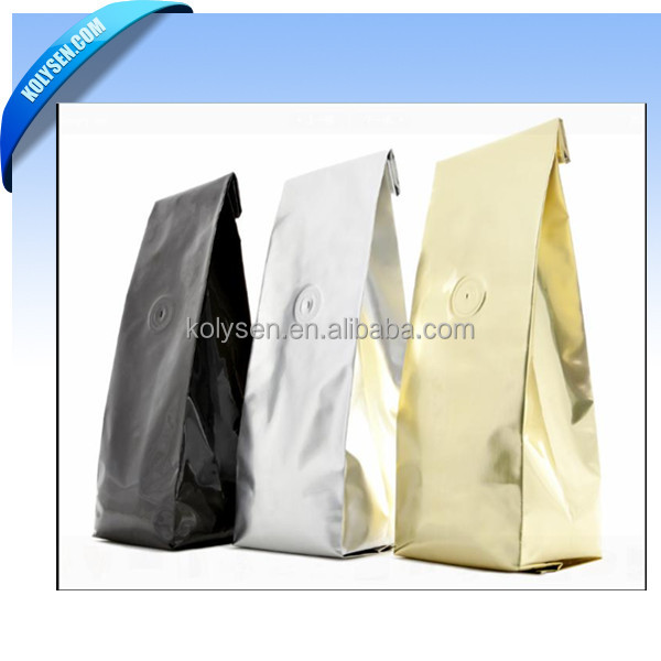 custom printed side gusset coffee packing bags with tin tie and one way degassing valve