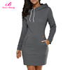Fashion Dark Grey Drawstring Pocket Ladies Dinner Women Sexy Modern Girls Dresses