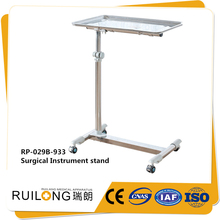 Knock down height adjustable removable tray mayo table for clinic