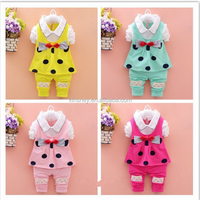 KS40063G Hot selling children clothing set with bowknot popular smocked children clothing wholesale