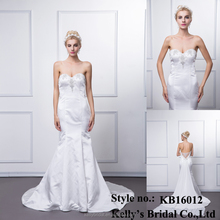 KB16012 Sexy Luxurious Strapless Beaded Silk Cocktail Wedding Dress With Big Long Chiffon Train/Duchess Satin Keltoi Bridal Gown