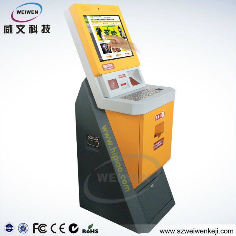 touch screen bill payment kiosk ticket machine with Webcam