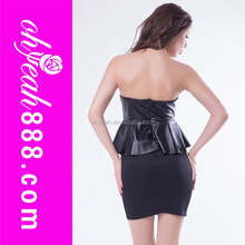 Excellent quality peplum mature lady leather short dress