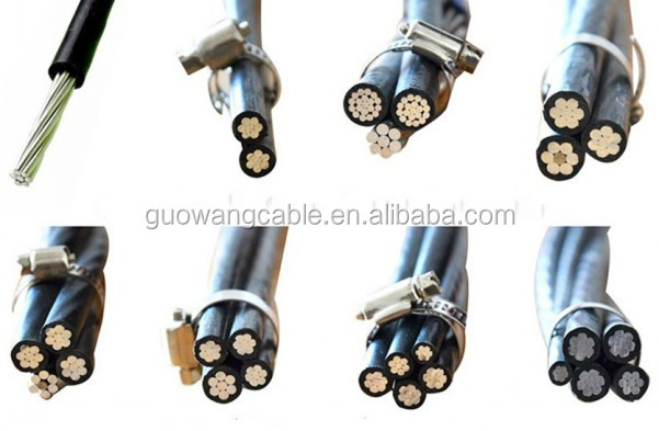 1-35KV Electrical Overhead ABC Cable For Covered Line/Duplex/Triplex/Quadruplex Service Drop With AAC, AAAC, ACSR Conductor