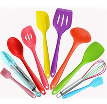 factory customized silicon kitchen supplies,Professional manufacturer colour silicone kitchen utensil sets of 10