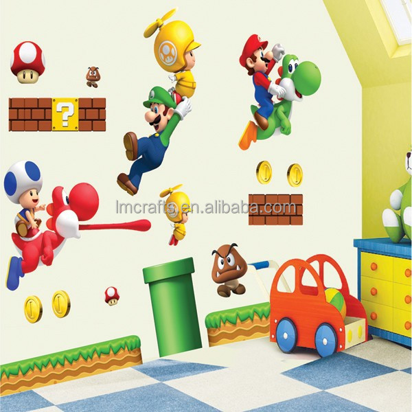 Removable Super Mario Brothers Art Mural Wall Vinyl Sticker Decal Home Kid's Decal 50 X 70 cm Fashion Gift Free Shipping LM7008