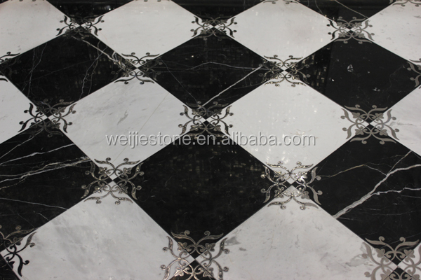 Stainless Steel Floor Inlays : Modern stainless steel mixed marble inlay flooring design