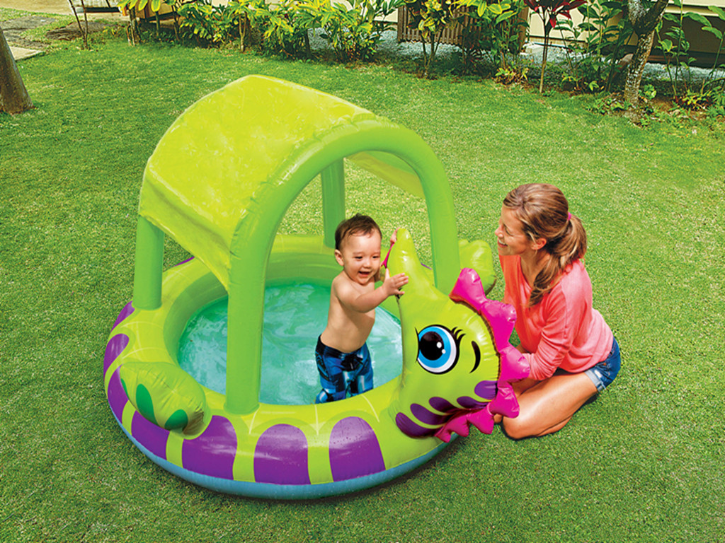Intex 57119 Inflatable Sea Turtle Shade Baby Pool with Built-in Sunshade