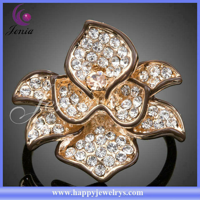 2013 New Fashionable High Quality 18k Gold Plated Ring With Good Austrian Crystal Rose Flower Shaped Diamond Engagement Ring(LR0