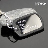 Promotion Stainless Steel Dog Pet Tag Necklace Pendant Black Silicone Cover Rubber Plastic Case Name TEL Birth Tag Metal Dog Tag