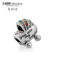 2015 Christmas gifts! T400 made with swarovski elements Crystal,925 sterling Silver,slide bracelet Charms,baby carriage, #Q149