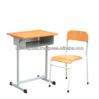 Single school desk and chair,School Furniture wooden single desk and chair,supply double student desk and chair