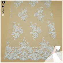 2016 White bridal floral tulle lace fabric/ beaded corded lace fabric for bridal dresses wholesale DH-BF 394