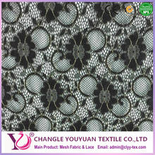 Knitted nylon spandex lace fabric with flower pattern