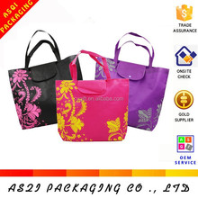 reusable eco friendly logo printed retail foldable shopping non woven tote bag with button closure