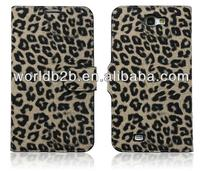 Leopard Texture Leather Case Cover with Credit Card Slots & Holder for Samsung Galaxy Note II / N7100
