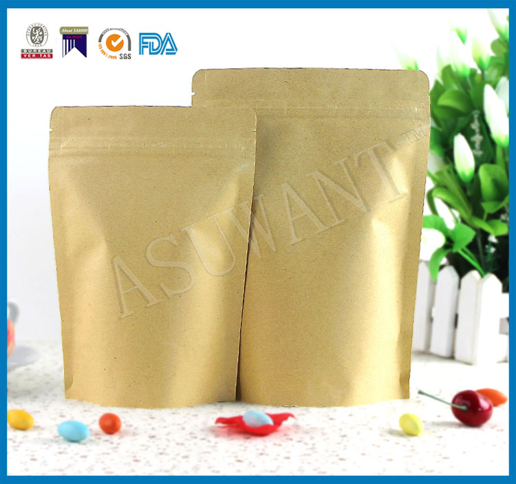 Ziplock kraft paper dried food coffee packaging doypack plastic bag